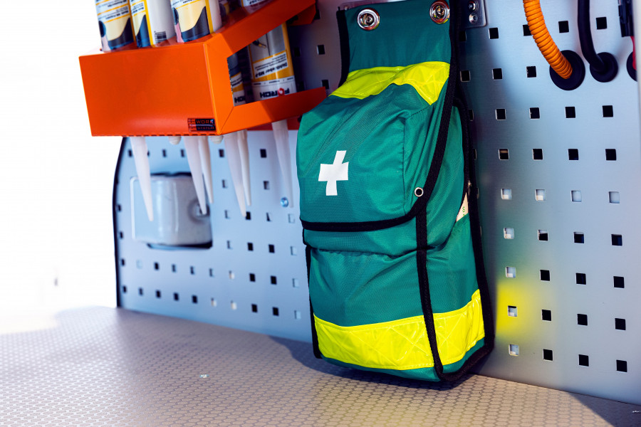 First aid kits and fire extinguishers for your work vehicle.