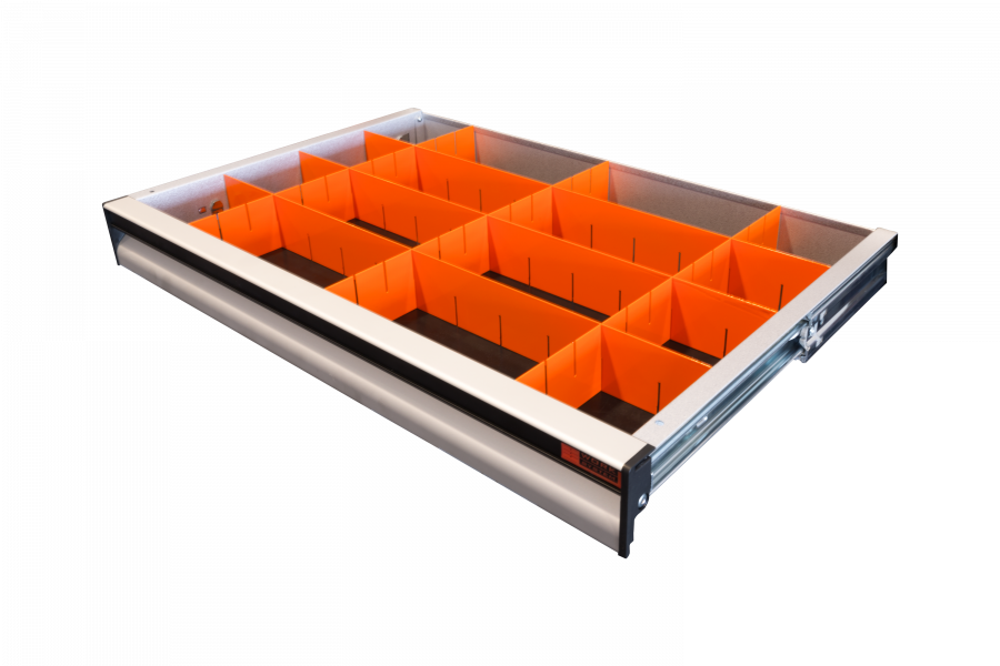 Drawer Divider 70x620 mm featuring 16 compartments