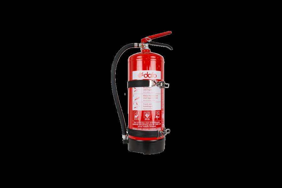 Brandsläckare 6kg pulver ABC godkännd med fordonsfäste.