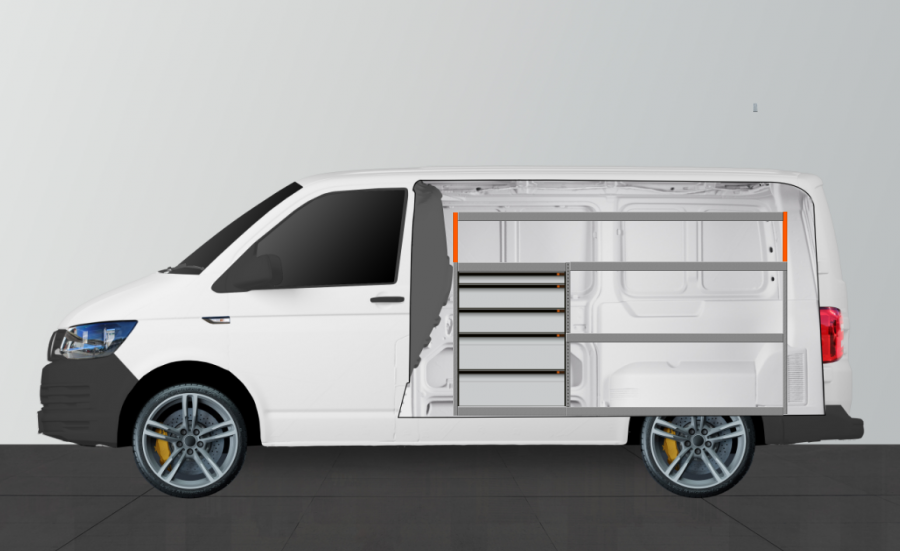 H-Pro van racking for the Transporter (SWB) | Work System